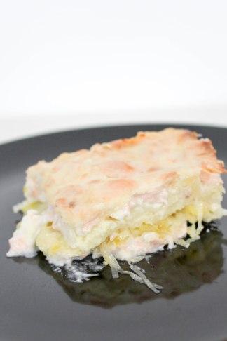 recette gratin de raviole chevre saumon poireau